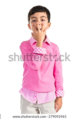 Boy doing surprise gesture  - stock photo
