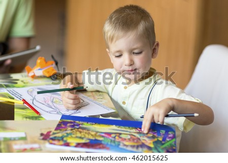 Boy, drawing a picture