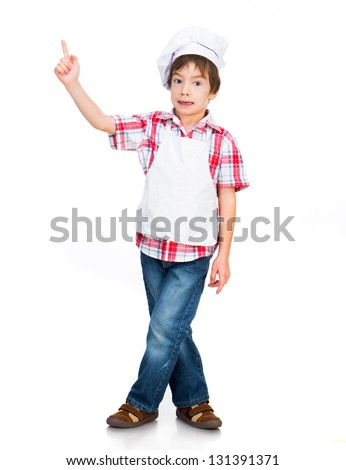 boy dressed as a cook shows up isolated on a white background - stock photo