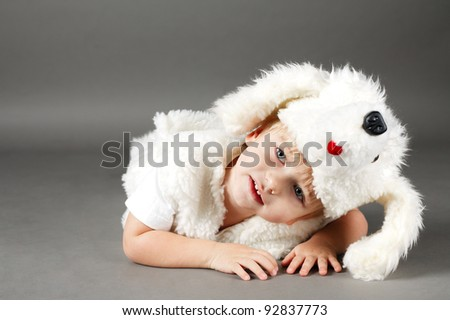 boy dressed as a dog - stock photo