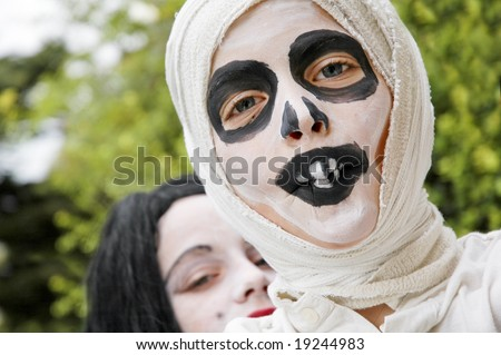 boy dressed as mummy for halloween - stock photo
