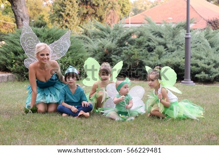 Boy dressed as Peter Pan two girls and baby in fairy costume. Fairies  sc 1 st  Shutterstock & Boy Dressed Peter Pan Two Girls Stock Photo (Edit Now) 566229481 ...