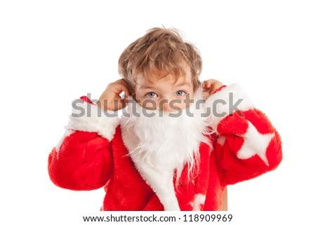 boy dressed as Santa Claus, isolation - stock photo