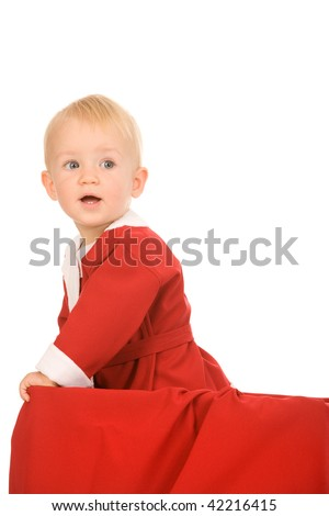 boy dressed as Santa Claus on white background