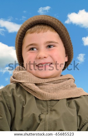 Boy Dressed for Winter - stock photo