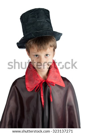 Boy dressed like vampire for Halloween party. Black and red clothes. Isolated on white - stock photo