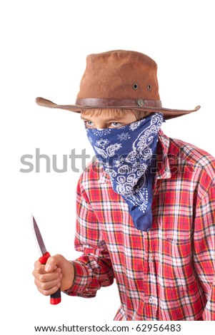 boy dressed up as bandit with knife on white - stock photo