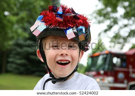 Boy dressed up for a 4th of July Parade - stock photo