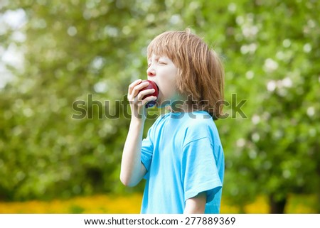 Boy Eating Red Apple in the Garden - stock photo
