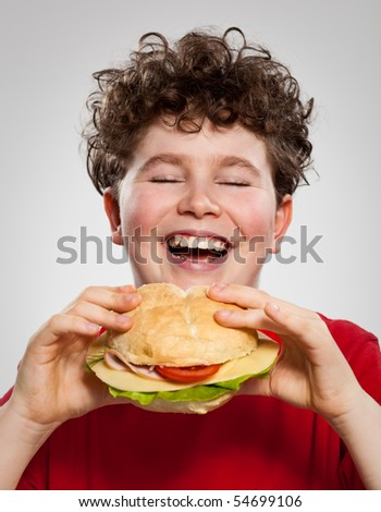 Boy eating sandwich - stock photo