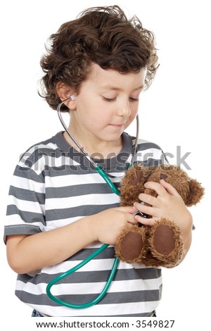 boy examining his bear a over white background - stock photo