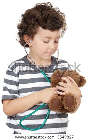 boy examining his bear a over white background - stock photo