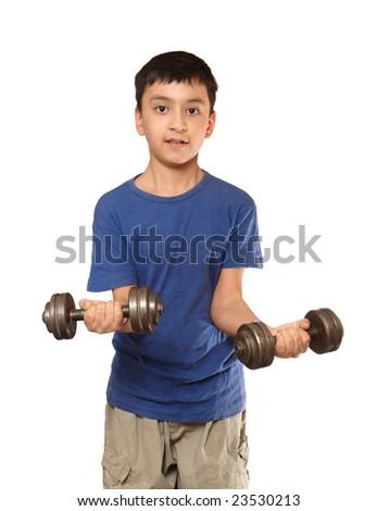 boy exercise with dumbbells isolated on white - stock photo