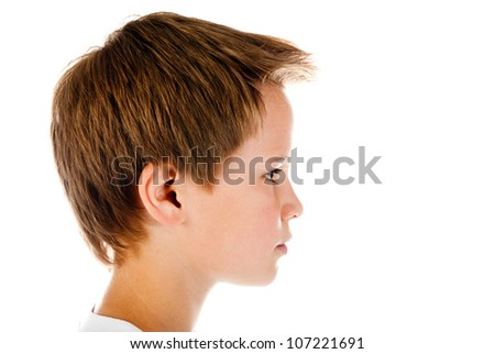 boy face isolated on a white background - stock photo