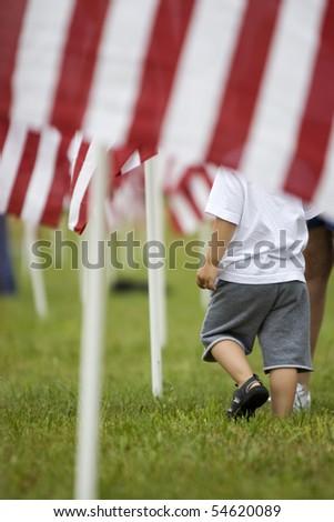 boy flags - stock photo