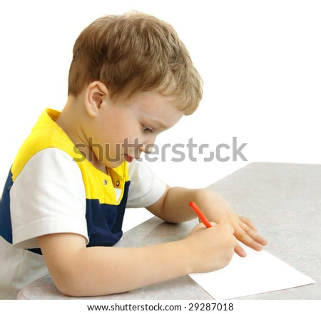boy  furnished himself with a pencil and began to draw (isolated)