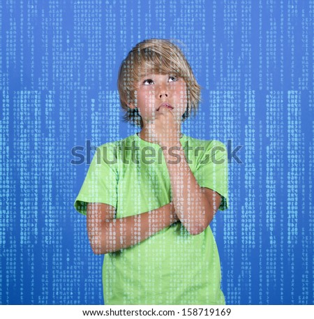 Boy genius thinks and digital stream. - stock photo
