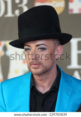 Boy George arrives for the Brit Awards 2013 at the O2 Arena, Greenwich, London. 20/02/2013 Picture by: Henry Harris - stock photo