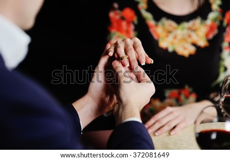boy girl dress wedding ring. Hands of lovers close up