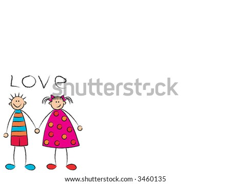 boy + girl = love on white (raster) - cartoon illustration with lots of copy space - stock photo