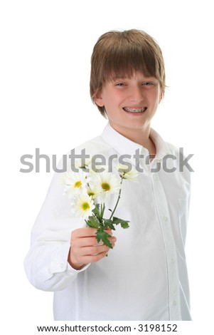 boy giving flower, isolated on white