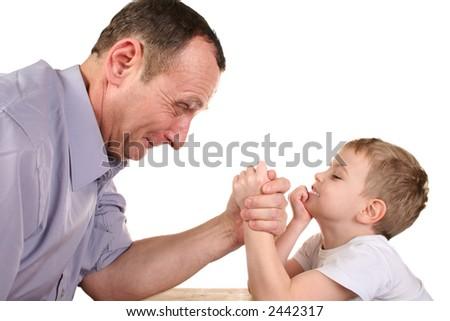 boy grandfather wrestling - stock photo