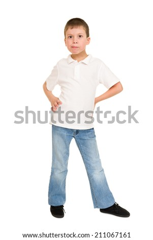 boy grimacing on white