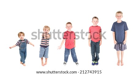 Boy growing from age three to age eleven. stages of development - stock photo