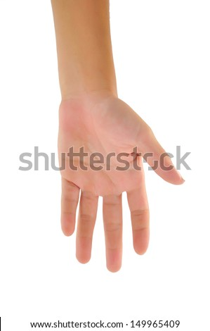 boy hand (palm) isolated on white background  - stock photo