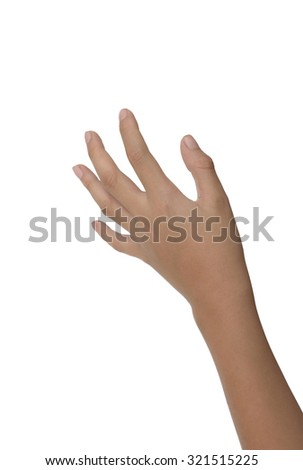 boy hand  Reach for grabs isolated on white background. - stock photo