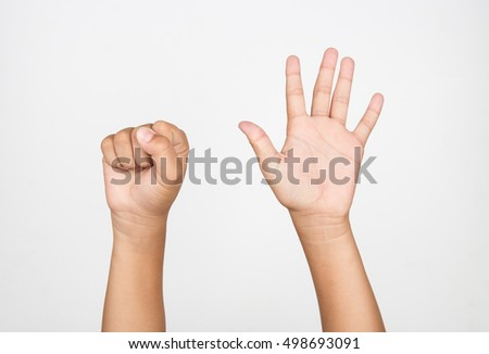 "boy hand, the ""5"" on a white background."