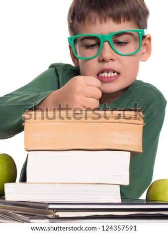 boy hates books, sick of reading - stock photo