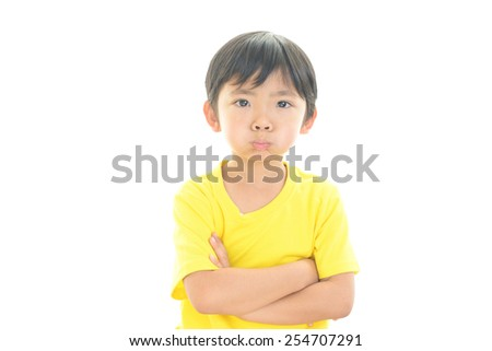 Boy have a anxiety expression - stock photo