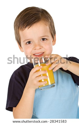 Boy having a glass of refreshing fruit juice - isolated