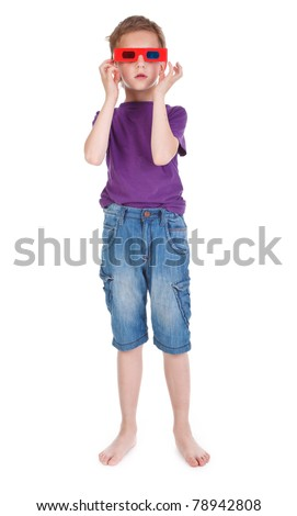 boy having fun wearing 3D glasses on white background - stock photo