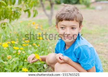 Boy having fun with yellow flowers. 7 years old boy in blue t-shirt in the garden.