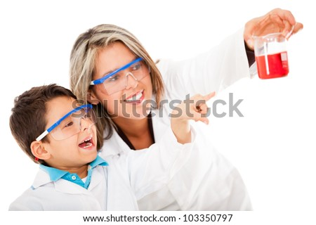Boy helping mum with an experiment at the lab - isolated over white