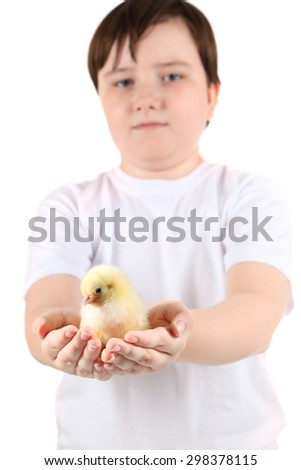 Boy holding a chicken on a white background - stock photo