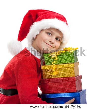 Boy holding a christmas gift isolated on white background - stock photo