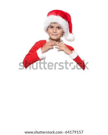 Boy holding a christmas poster isolated on white background
