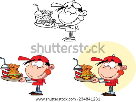 Boy Holding A Plate With Fast Food. Raster Collection Set - stock photo