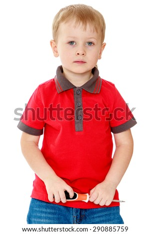 Boy holding a screwdriver - isolated on white background - stock photo