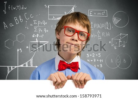 boy holding a white banner. place for text - stock photo