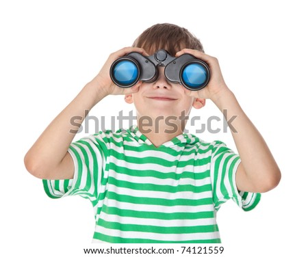 Boy holding binoculars isolated on a white - stock photo
