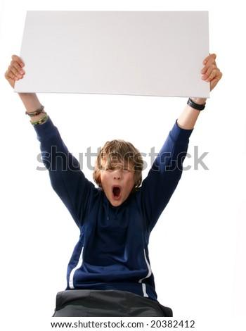Boy holding blank white sign - stock photo
