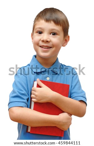 Boy holding book isolated on white background
