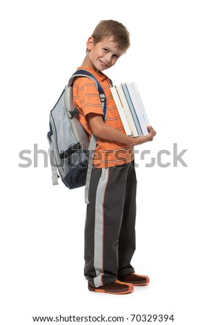 Boy holding books isolated on a white background