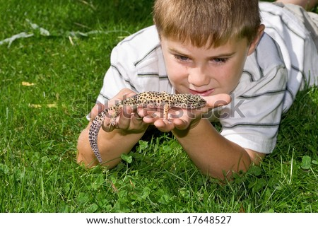 Boy holding his pet Gecko Lizard - stock photo
