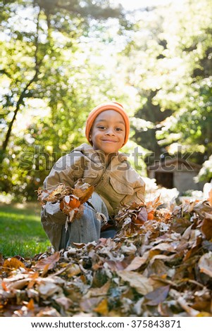 Boy holding leaves - stock photo