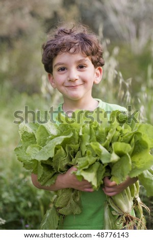 boy holding organic lettuce outdoors - stock photo